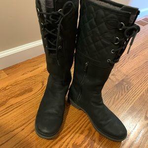 Black uggs leather lined inside warm waterproof